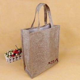 China Foldable Square Jute Tote Bags With Heat Transfer Printing Color Optional supplier