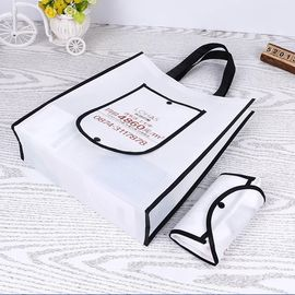 China Washable Black And White Foldable Tote Bag With Long High Hardness Rope supplier