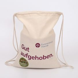 China Blank Cotton Drawstring Bags / Personalized Small Fabric Bags With Drawstring supplier