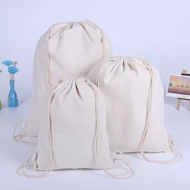 China Eco Friendly Cotton Canvas Drawstring Bag With Heat Transfer Printing supplier