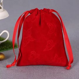 China Printed Red Cotton Drawstring Bag , Large Canvas Drawstring Laundry Bag supplier