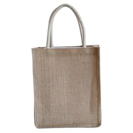 China Fancy Cat Printed Jute Tote Bags With Soft Loop Handle Burlap Silk Screen supplier