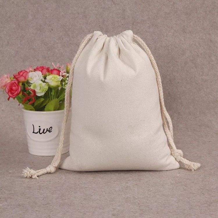 fashionable large canvas drawstring bags handmade white canvas