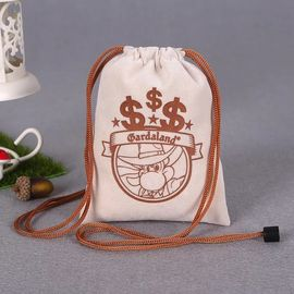 China Customized Size Cotton Canvas Drawstring Bag With Heat Transfer Printing factory