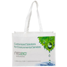 China Green And White Polypropylene Tote Bags Durable Even Washed By Hand factory
