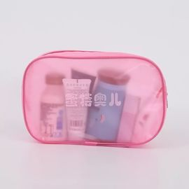 Pink Makeup PVC Plastic Bag With Magic Tape And String Craft Sewing Surface