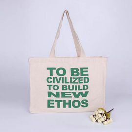 China Long Rope Green Canvas Tote Bag / Recycled Small Canvas Shopping Bags factory