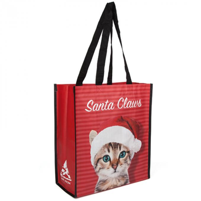 Logo Printed Polypropylene Reusable Grocery Bag With A Cute Cat On The Surface