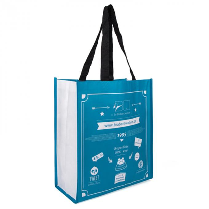 Water Resistant Polypropylene Tote Bags With Laminated Full Color Printing