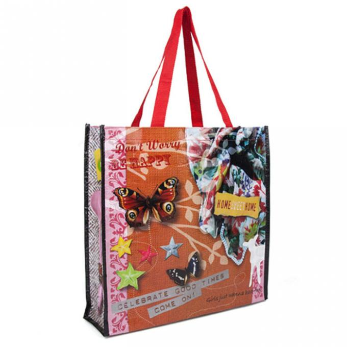 Customized 100% Polypropylene Tote Bags Silk Screen Printing Hot Stamping