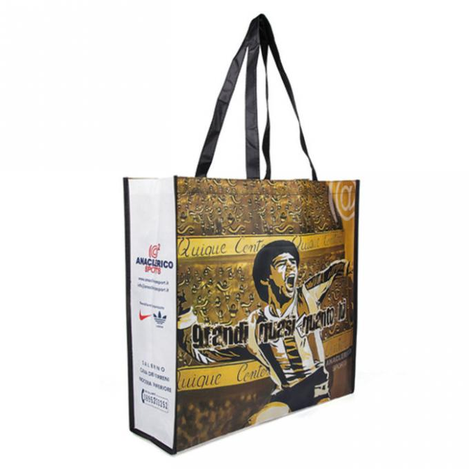 Natural Yellow Polypropylene Tote Bags With Heat  - Transfer Printing