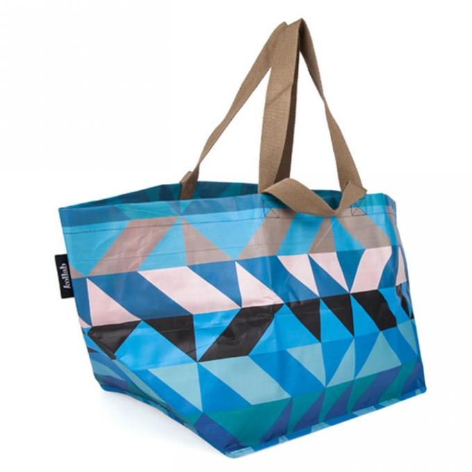 Handled Blue Polypropylene Tote Bags For Shopping And Promotion Silk Screen