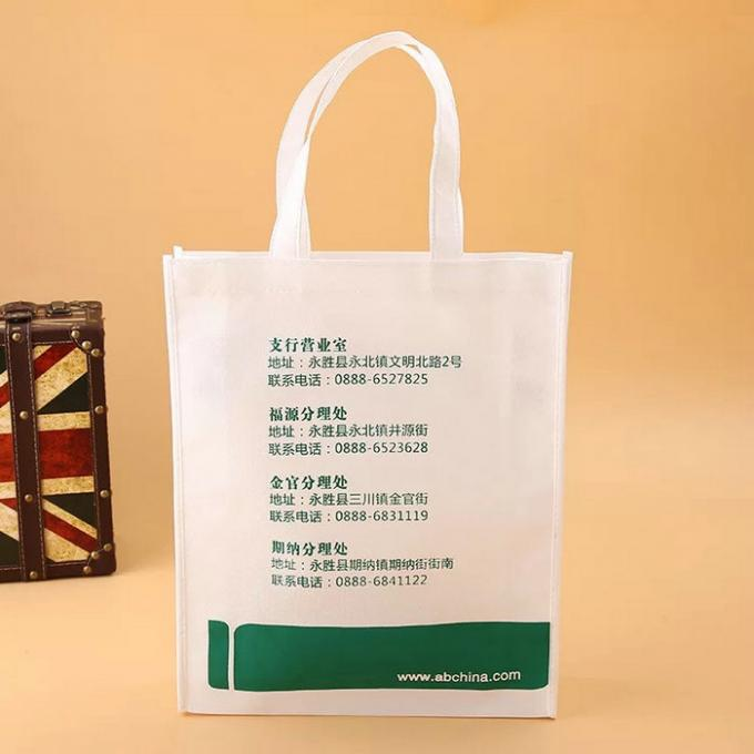 White And Green Non Woven Fabric Bags With Printed Logo On The Surface
