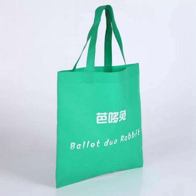 Green Handled Non Woven Fabric Shopping Bags Heat - Transfer Printing
