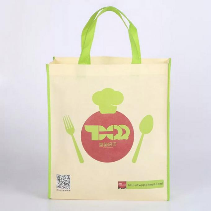 Silk Screen Yellow Non Woven Fabric Bags With An Apple On The Surface