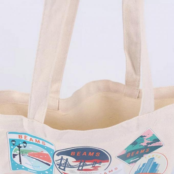 Recycled Shoulder Embroidered Canvas Tote Bags With Digital Offset Printing