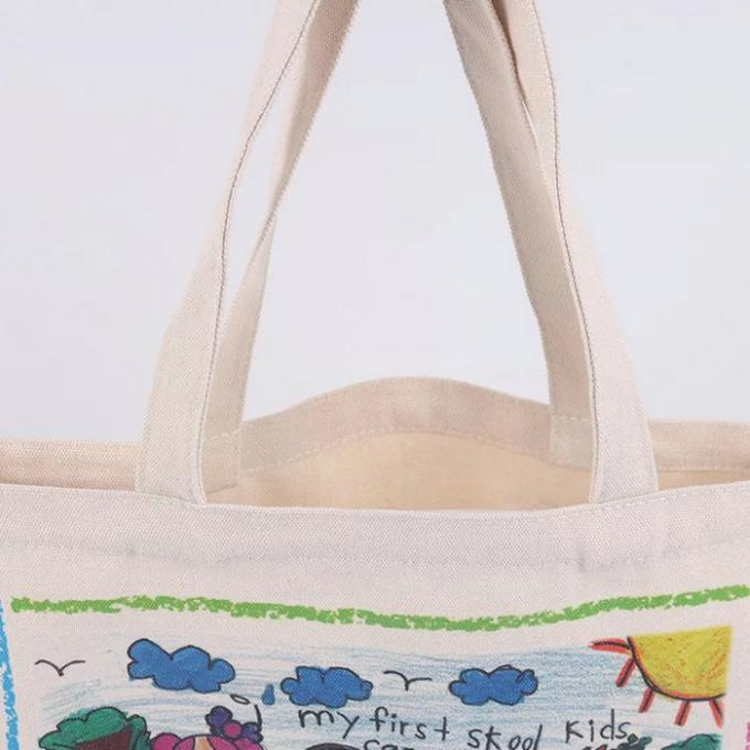 Handheld Personalised Canvas Tote Bags / Custom Made Promotional Cotton Tote Bags