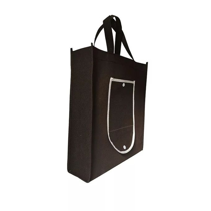 Washable Black And White Foldable Tote Bag With Long High Hardness Rope