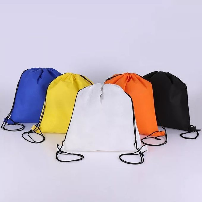 Eco Friendly Orange Sports Drawstring Backpacks For Athlete Packing And Fitting