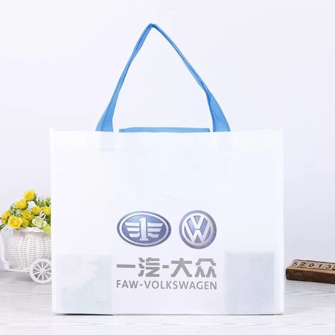 Eco Friendly Green Foldable Tote Bag With Snap Closure Offset Printing