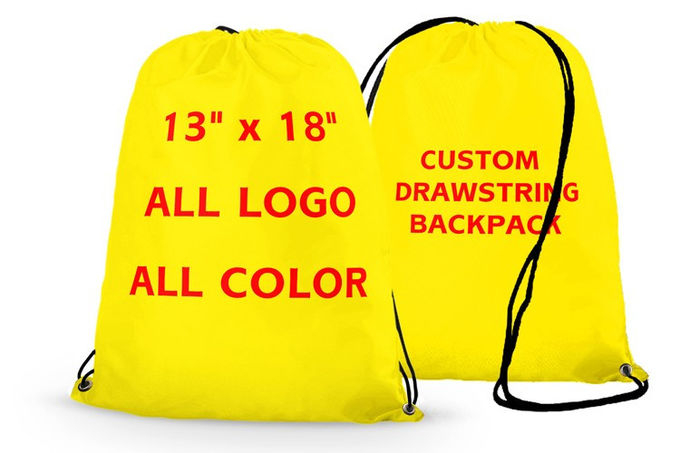 Promotional Printed Sports Drawstring Backpacks Heat Transfer Printing